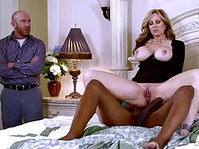 Interracial cuckold scene along a steamy blonde getting drilled hard